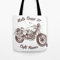 cafe racer Tote Bags featuring vintage moto guzzi - cafe racer by dareba