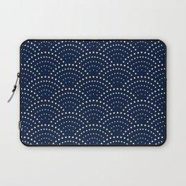 Japanese Blue Wave Seigaiha Indigo Super Moon Pattern Laptop Sleeve