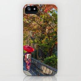 Geisha in Autumn iPhone Case