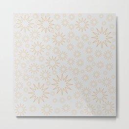 Golden stars on white grey Metal Print