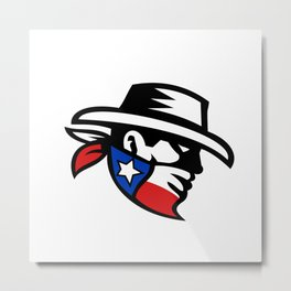 Texas Bandit Cowboy Side Retro Metal Print