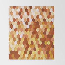 Honeycomb Pattern In Warm Mead and Honey Colors Throw Blanket