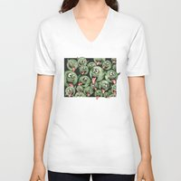 grafitti V-neck T-shirts featuring Green Graffiti Creatures by Squidoodle