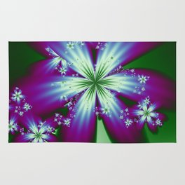 Purple Blue and Green Flowers Rug