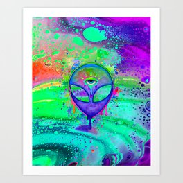 Alien Melt - purple Art Print