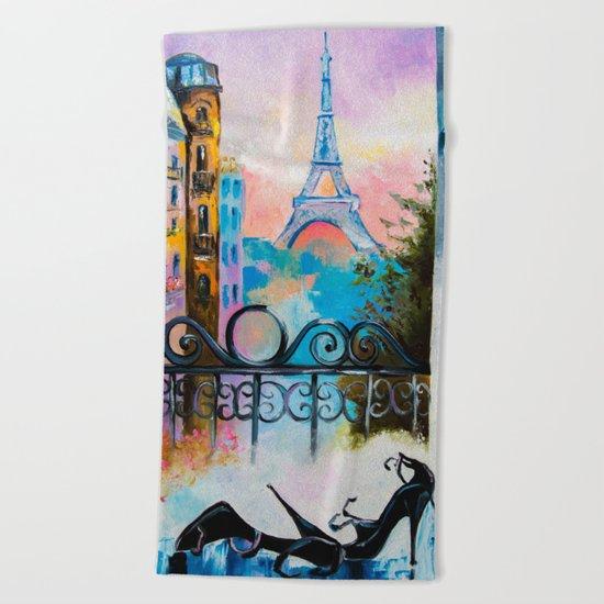 Romantic date in Paris Beach Towel