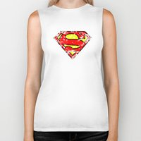 superman Biker Tanks featuring Superman by sambeawesome