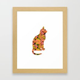 Cat Silhouette With Hibiscus Flowers Inlay Framed Art Print