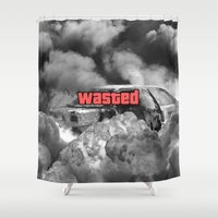 gta Shower Curtains featuring Wasted GTA by JOlorful