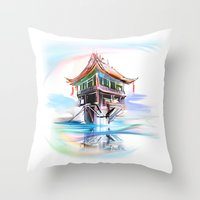 vietnam Throw Pillows featuring Vietnam by tatiana-teni