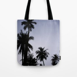 Tropical palm trees in sunset blue Tote Bag