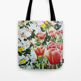 Edge of a tulip garden Tote Bag