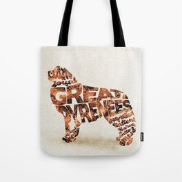 Great Pyrenees Typography Art / Watercolor Painting Tote Bag