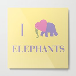 I Heart Elephants Metal Print