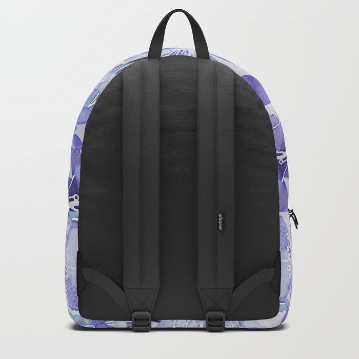 Purple Flower watercolor allover pattern Backpack