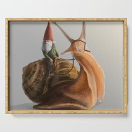 Gnome on Snail Serving Tray