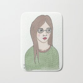 Girl with Glasses Bath Mat