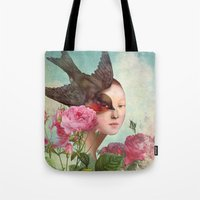silent Tote Bags featuring The Silent Garden by Christian Schloe