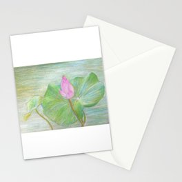 Thai Pink Lotus Bud Stationery Cards