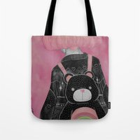 loll3 Tote Bags featuring T e d d y  by lOll3