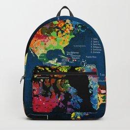 World Map Black - 2 Backpack