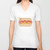hot dog V-neck T-shirts featuring hot dog by Alba Blázquez