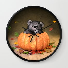 Thanksgiving Teddy Wall Clock
