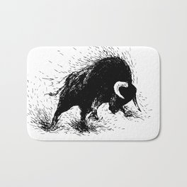 Hand drawing of a raging bull Bath Mat