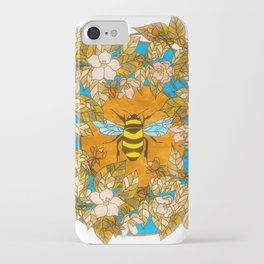 Bumblebee In Wild Rose Wreath iPhone Case