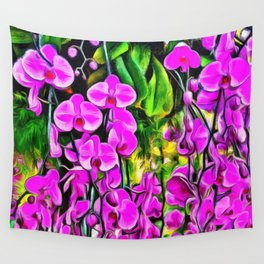 Purple Painterly Orchid Vines Wall Tapestry