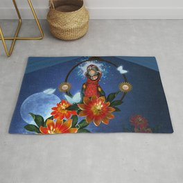 Funny cute parrot with flowers Rug