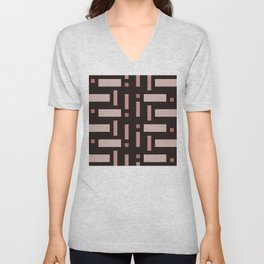 Pattern of Squares in Brown Unisex V-Neck