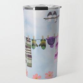 winter's over clothesline with juncos Travel Mug