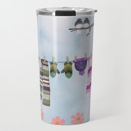 winter's over clothesline with juncos Travel Mug