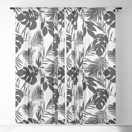 Black N White Monstera And Palm Leaves Sheer Curtain