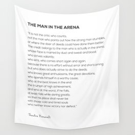 The Man In The Arena Theodore Roosevelt Quote Wall Tapestry