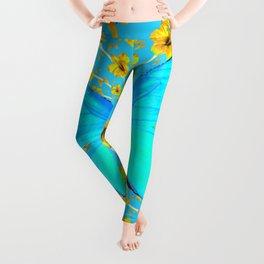 BLUE BUTTERFLY YELLOW AMARYLLIS PATTERNED ART Leggings