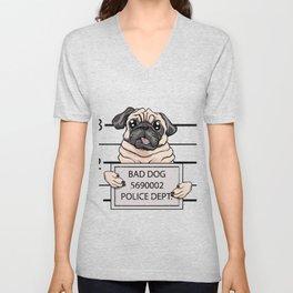 mugshot dog cartoon. Unisex V-Neck