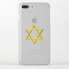 Golden 3-D Look Jewish Star of David Clear iPhone Case