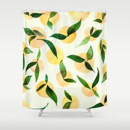 Sunny Lemon Print ~ Yellow and Green Shower Curtain