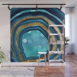 Agate Aqua Blue Gold #1 #abstract #shiny #decor #art #society6 Wall Mural