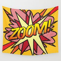 comic book Wall Tapestries featuring Comic Book ZOOM! by The Image Zone
