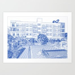 Architectural blueprint art prints society6 blueprint drawing of modern apartment complex no 7 art print malvernweather Image collections