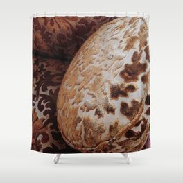 Vintage Gold Filigree Velvet Pillows Shower Curtain