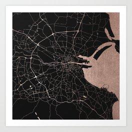 Black on Rosegold Dublin Street Map Art Print