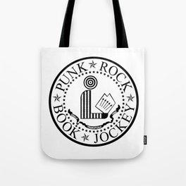 Punk Rock Book Jockey White Logo Tote Bag