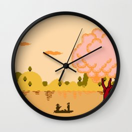 CROSSING THE RIVER Wall Clock