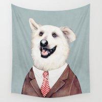 labrador Wall Tapestries featuring Happy Labrador Retriever  by Animal Crew