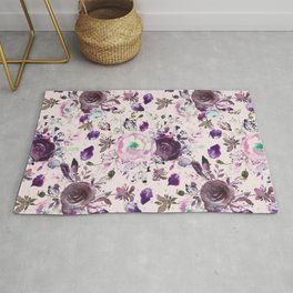 Country chic pink lavender violet watercolor floral Rug
