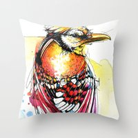 jay fleck Throw Pillows featuring Crazy Jay by Abby Diamond